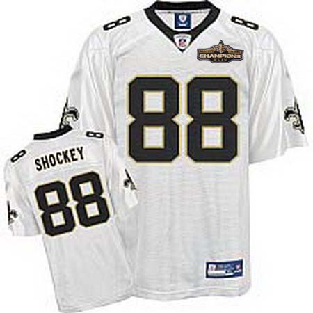 New Orleans Saints 88 Jeremy Shockey white Champions patch