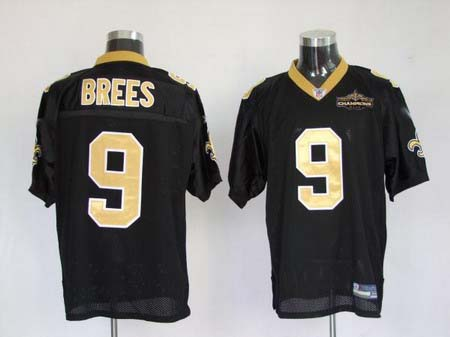 New Orleans Saints 9 Drew Brees black Authentic Jerseys Champions patch