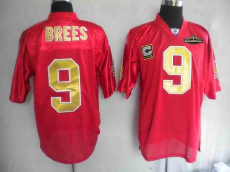 New Orleans Saints 9 Drew Brees red Jerseys Champions patch