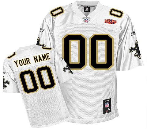 New Orleans Saints Super Bowl XLIV Customized White Jerseys