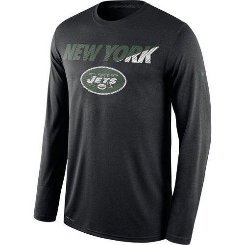 New York Jets Nike Black Legend Staff Practice Long Sleeves Performance T-Shirt