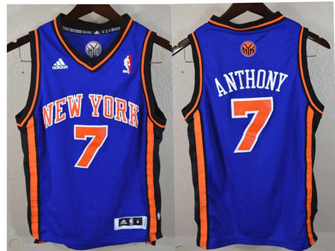 New York Knicks #7 Carmelo Anthony Revolution 30 Swingman Blue Jersey