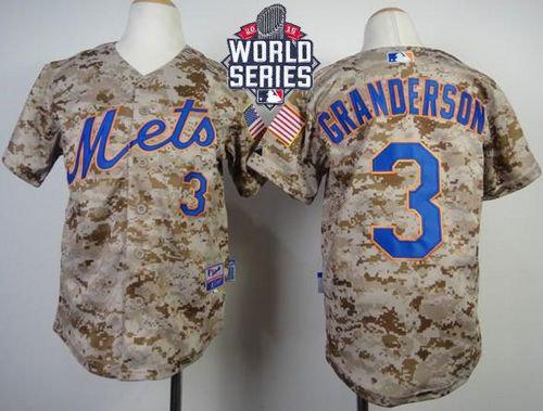New York Mets 3 Curtis Granderson Camo Alternate Cool Base 2015 World Series Patch Kid MLB Jersey