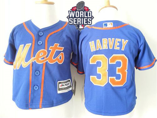 New York Mets 33 Matt Harvey Blue Alternate Home Cool Base 2015 World Series Patch Toddler Baseball Jersey