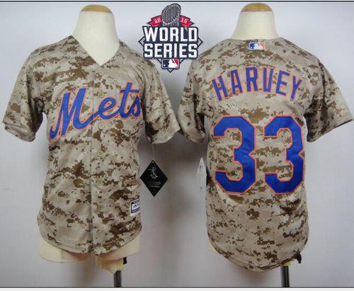 New York Mets 33 Matt Harvey Camo Alternate Cool Base 2015 World Series Patch Kid MLB Jersey