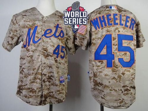 New York Mets 45 Zack Wheeler Camo Alternate Cool Base 2015 World Series Patch Kid MLB Jersey