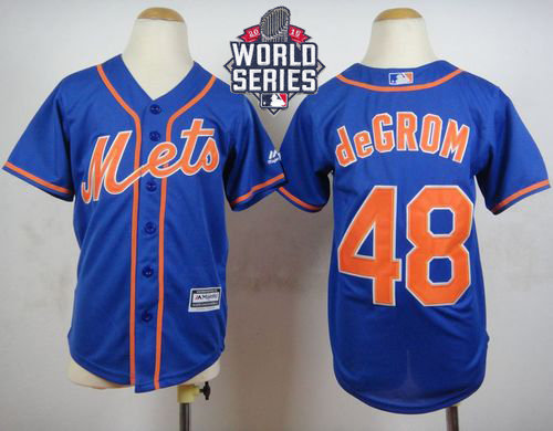 New York Mets 48 Jacob DeGrom Blue Alternate Home Cool Base 2015 World Series Patch Kid MLB Jersey