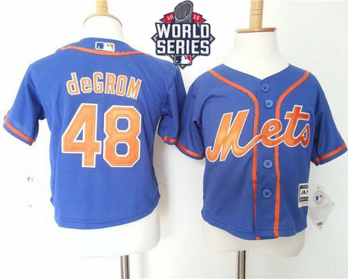New York Mets 48 Jacob DeGrom Blue Alternate Home Cool Base 2015 World Series Patch Toddler Baseball Jersey