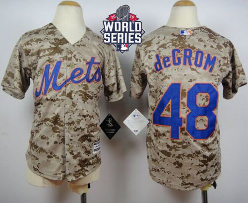 New York Mets 48 Jacob DeGrom Camo Alternate Cool Base 2015 World Series Patch Kid MLB Jersey