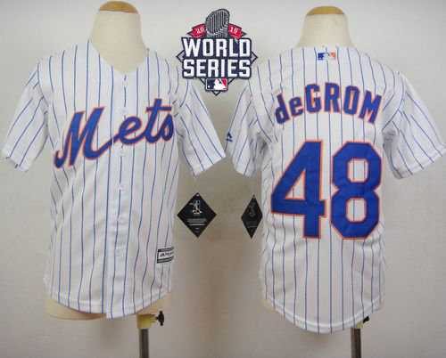 New York Mets 48 Jacob DeGrom White(Blue Strip) Home Cool Base 2015 World Series Patch Kid MLB Jersey