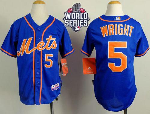 New York Mets 5 David Wright Blue Alternate Home Cool 2015 World Series Patch Kid MLB Jersey
