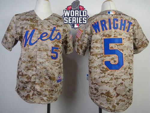 New York Mets 5 David Wright Camo Alternate Cool Base 2015 World Series Patch Kid MLB Jersey