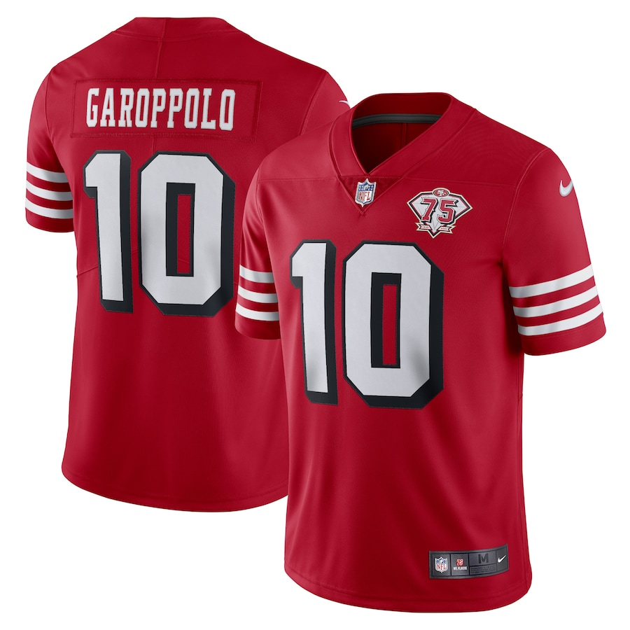 Nike 49ers #10 Jimmy Garoppolo Red Rush Men's 75th Anniversary Stitched NFL Vapor Untouchable Limited Jersey