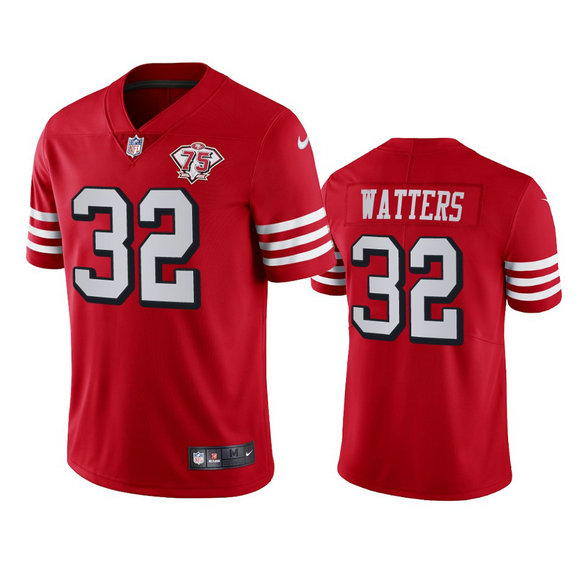 Nike 49ers #32 Ricky Watters Red Rush Men's 75th Anniversary Stitched NFL Vapor Untouchable Limited Jersey