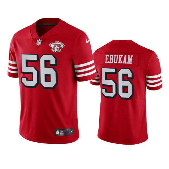 Nike 49ers #56 Samson Ebukam Red Rush Men's 75th Anniversary Stitched NFL Vapor Untouchable Limited Jersey