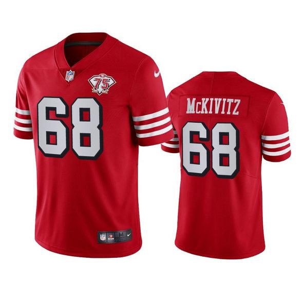 Nike 49ers #68 Colton Mckivitz Red Rush Men's 75th Anniversary Stitched NFL Vapor Untouchable Limited Jersey