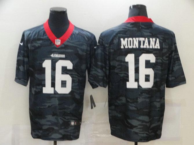 Nike 49ers 16 Joe Montana Black Camo Limited Jersey