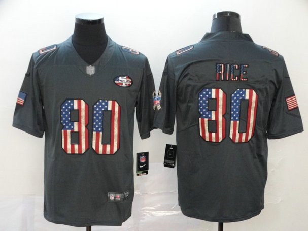 Nike 49ers 80 Jerry Rice 2019 Salute To Service USA Flag Fashion Limited Jersey