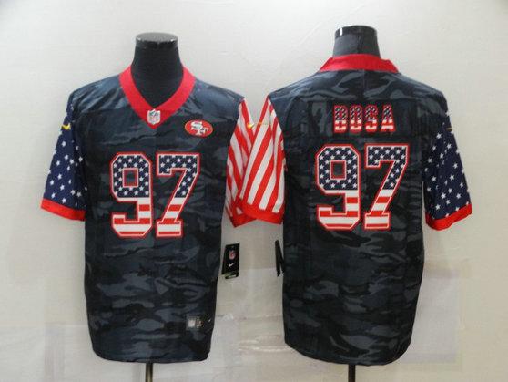 Nike 49ers 97 Nick Bosa Black Camo USA Flag Limited Jersey