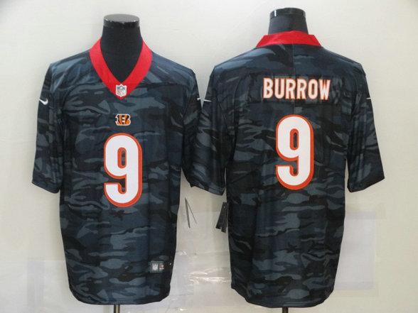 Nike Bengals 9 Joe Burrow Black Camo Limited Jersey