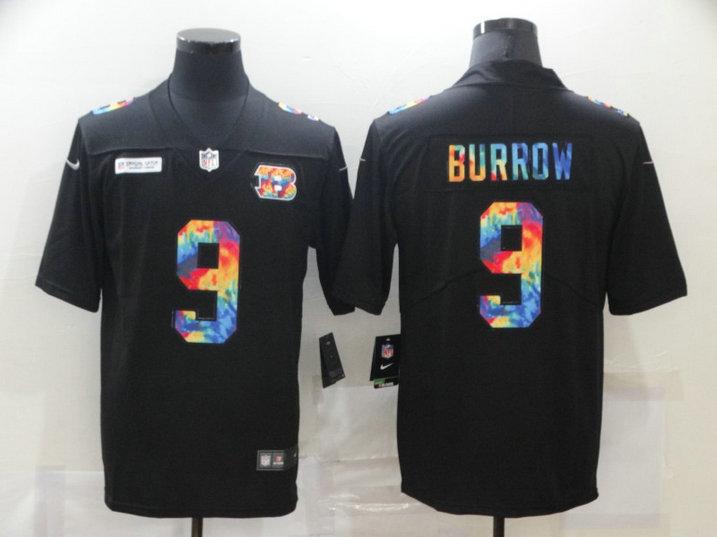 Nike Bengals 9 Joe Burrow Black Vapor Untouchable Rainbow Limited Jersey