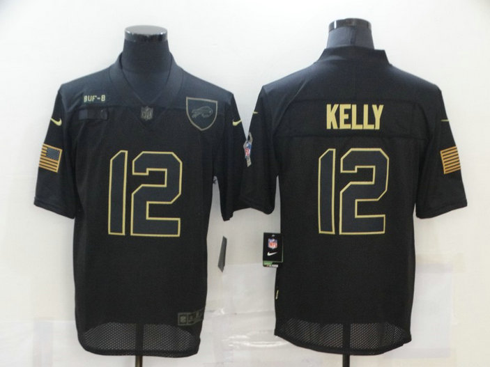 Nike Bills 12 Jim Kelly Black 2020 Salute To Service Limited Jersey