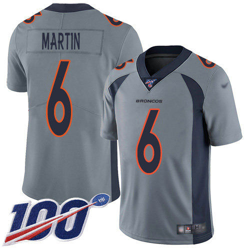 Nike Broncos #6 Sam Martin Gray Men's Stitched NFL Limited Inverted Legend 100th Season Jersey
