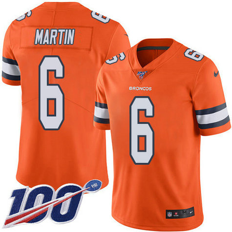 Nike Broncos #6 Sam Martin Orange Men's Stitched NFL Limited Rush 100th Season Jersey