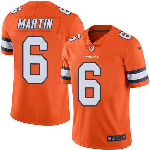 Nike Broncos #6 Sam Martin Orange Men's Stitched NFL Limited Rush Jersey