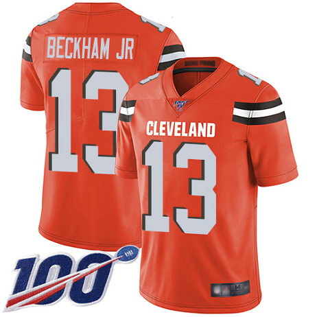 Nike Browns #13 Odell Beckham Jr Orange Alternate Men's Stitched Football 100th Season Vapor Limited Jersey