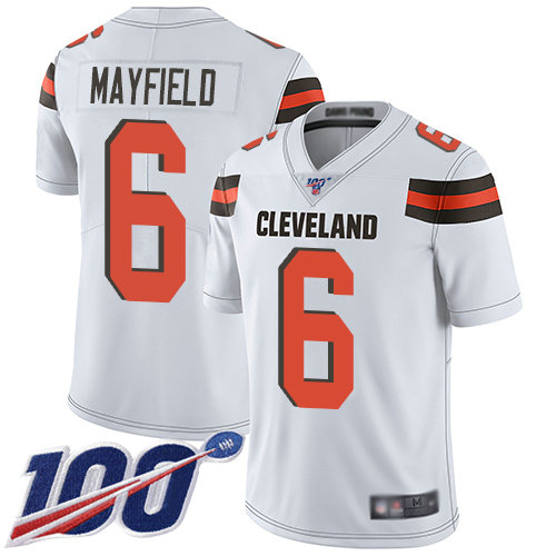 Nike Browns #6 Baker Mayfield White Men's Stitched Football 100th Season Vapor Limited Jersey