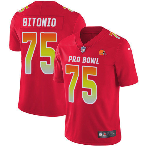 Nike Browns #75 Joel Bitonio Red Men's Stitched NFL Limited AFC 2019 Pro Bowl Jersey