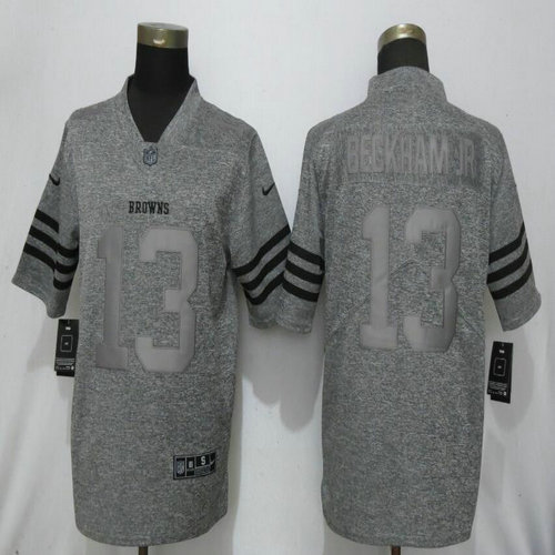 Nike Browns 13 Beckham Jr Gray Gridiron Gray Vapor Untouchable Limited Jersey