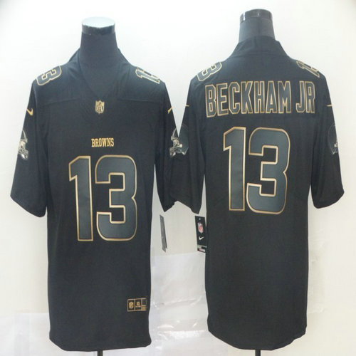 Nike Browns 13 Odell Beckham Jr Black Gold Vapor Untouchable Limited Jersey