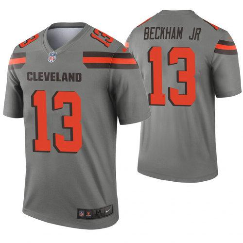 Nike Browns 13 Odell Beckham Jr Gray Inverted Legend Jersey