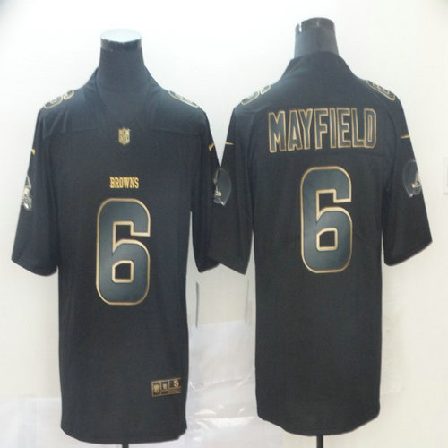 Nike Browns 6 Baker Mayfield Black Gold Vapor Untouchable Limited Jersey