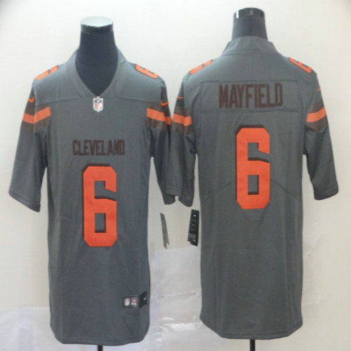 Nike Browns 6 Baker Mayfield Gray Inverted Legend Limited Jersey