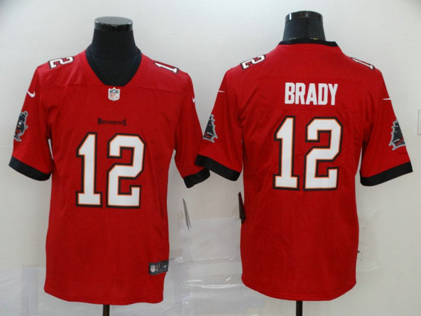 Nike Buccaneers 12 Tom Brady Red New 2020 Vapor Untouchable Limited Jersey