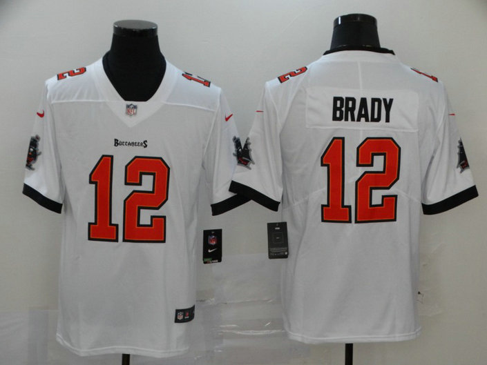 Nike Buccaneers 12 Tom Brady White New 2020 Vapor Untouchable Limited Jersey