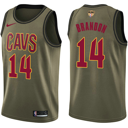 Nike Cavaliers #14 Terrell Brandon Green Salute to Service The Finals Patch NBA Swingman Jersey