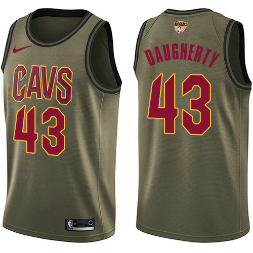 Nike Cavaliers #43 Brad Daugherty Green Salute to Service The Finals Patch NBA Swingman Jersey