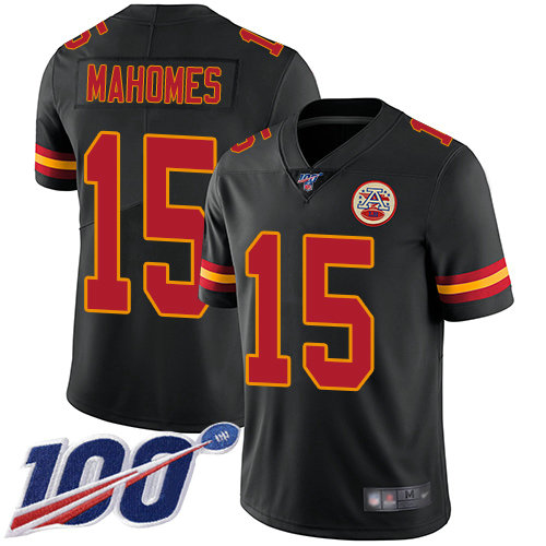 Nike Chiefs #15 Patrick Mahomes Black Men's Stitched Football Limited Rush 100th Season Jersey