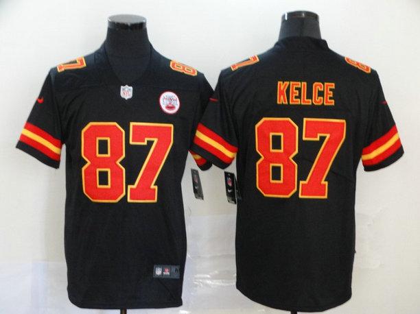 Nike Chiefs 87 Travis Kelce Black Vapor Untouchable Limited Jersey