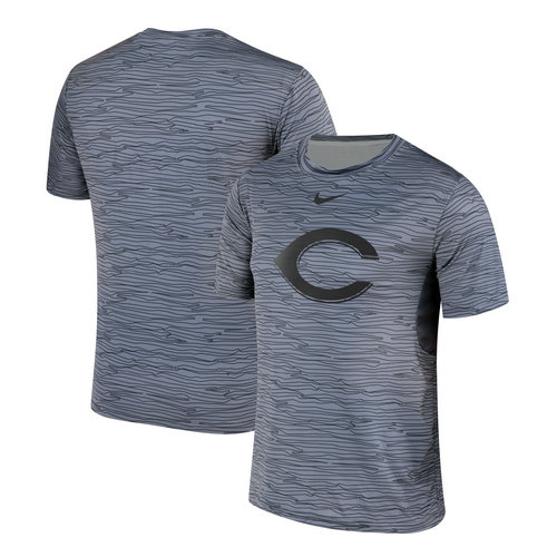 Nike Cincinnati Reds Gray Black Striped Logo Performance T-Shirt