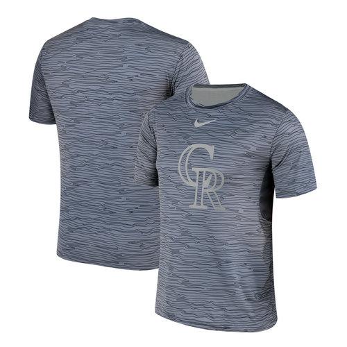 Nike Colorado Rockies Gray Black Striped Logo Performance T-Shirt