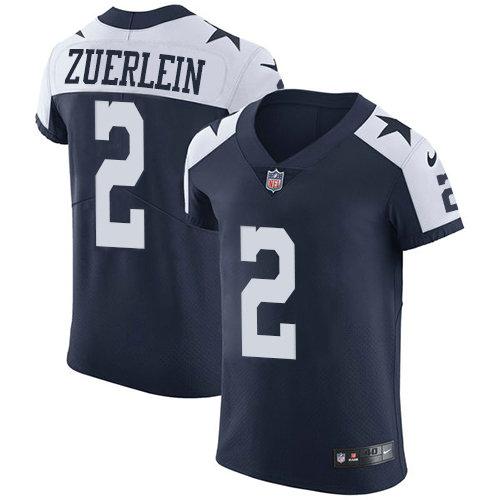 Nike Cowboys #2 Greg Zuerlein Navy Blue Thanksgiving Men's Stitched NFL Vapor Untouchable Throwback Elite Jersey