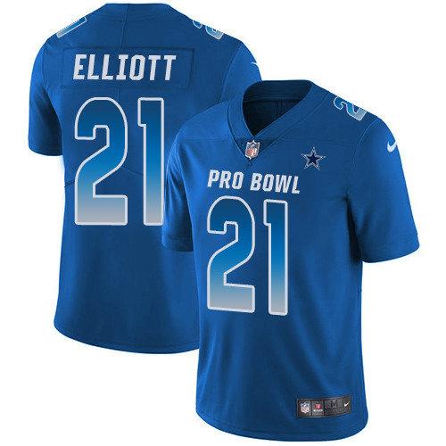Nike Cowboys #21 Ezekiel Elliott Royal Youth Stitched NFL Limited NFC 2019 Pro Bowl Jersey