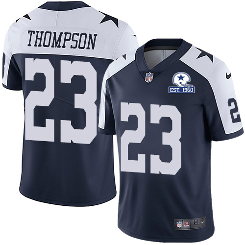 Nike Cowboys #23 Darian Thompson Navy Blue Thanksgiving Men's Stitched With Established In 1960 Patch NFL Vapor Untouchable Limited Throwback Jersey