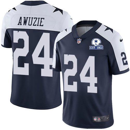 Nike Cowboys #24 Chidobe Awuzie Navy Blue Thanksgiving Men's Stitched With Established In 1960 Patch NFL Vapor Untouchable Limited Throwback Jersey