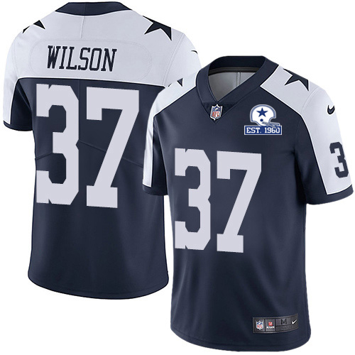 Nike Cowboys #37 Donovan Wilson Navy Blue Thanksgiving Men's Stitched With Established In 1960 Patch NFL Vapor Untouchable Limited Throwback Jersey